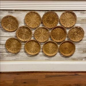 Vintage wicker wall baskets